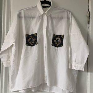 Zara White Buttoned Down Shirt w Crochet Pockets